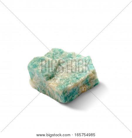 Natural rock amazonite amazon stone mineral isolated on white background. Clipping path included.