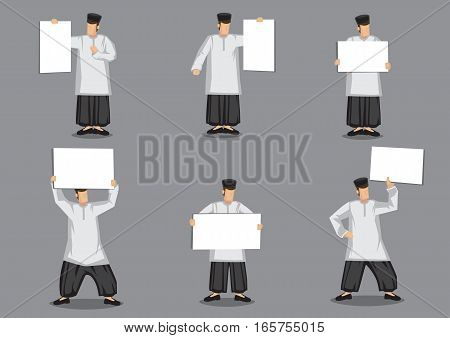 Set of six vector illustration of cartoon malay muslim man in traditional malay costume a loose tunic over trousers and songkok headwear holding blank placard isolated on grey background.
