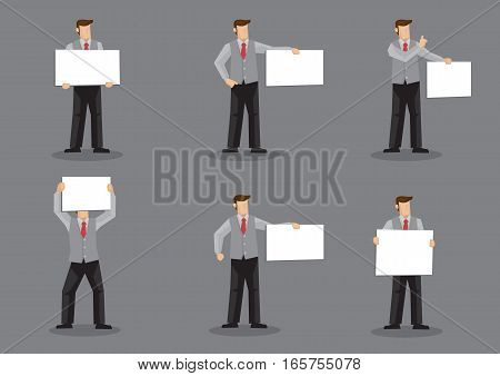 Set of six vector illustrations of cartoon man character in grey vest suit over dress shirt and red necktie holding blank sign board with copy space isolated on grey background.