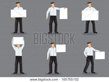 Set of six vector illustration of cartoon man character holding blank placard sign board isolated on grey background.