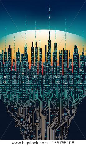 City online. Abstract futuristic digital city, hi-tech information computer concept