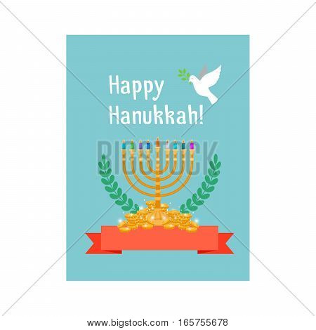 Jewish holidays, happy hanukkah card with menorah candles, chink, red ribbon and bird. Vector illustration