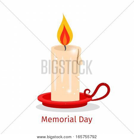 Memorial day vector card with candle and text on white background