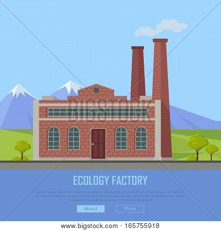Ecology factory web banner. Eco manufacturing and producing. Plant icon in flat style. Environmentally friendly. Retailer of organic natural healthy products. Modern building of the factory. Vector
