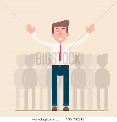 Businessman in spotlight. Human resource recruitment. Person success, employee and career. Vector illustration concept background