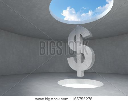 Dollar sign over the light hole space on floor up to the sky in concrete room. 3D rendering illustration.