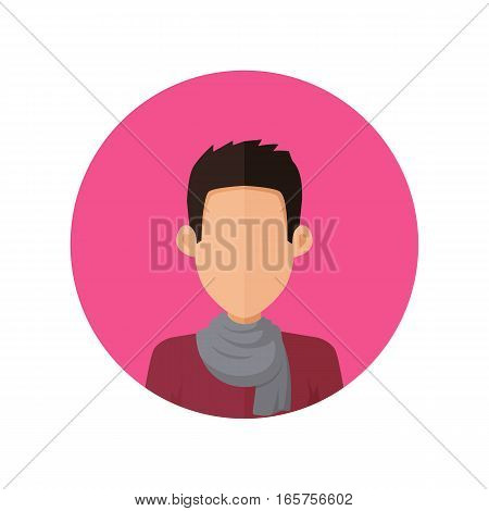 Man character avatar vector in flat style design. Brunet male personage portrait icon in pink circle. Illustration for concepts, app pictograms, infographic. Isolated on white background.