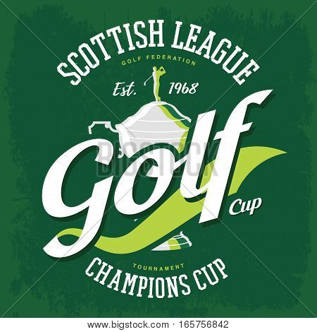 Golf trophy and golfer with club on top. Cup for man or senior major tournament with player for sport gear emblem or wear, t-shirt print. Clothing logo, branding, advertising, scottish federation sign