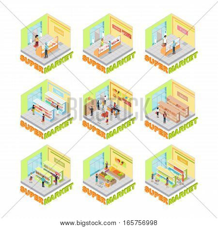 Supermarket interior vector set. Isometric projection. Illustrations of big trading rooms with product sections shelves, goods, customers, personnel, sellers, cashes. For store ad, app, game interface