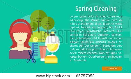 Spring Cleaning Conceptual Banner Great flat illustration concept icon and use for healthy, beauty, fashion and much more.