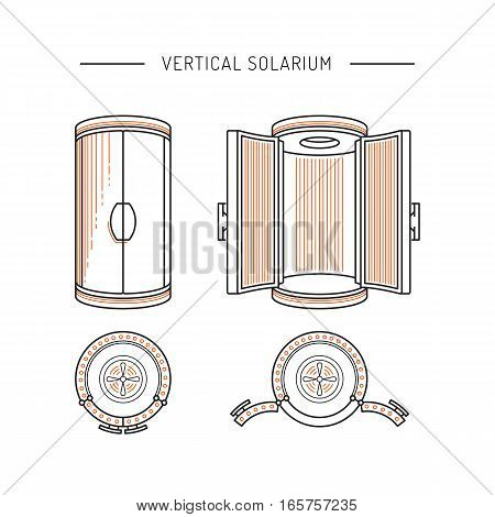 Solarium device used in tanning studios and beauty salons for artificial tanning through the irradiation of UV rays to human skin. The vertical Solarium is painted in a linear, outline style.