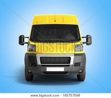 3D Render Of Yellow Delivery Van Icon On Gradient
