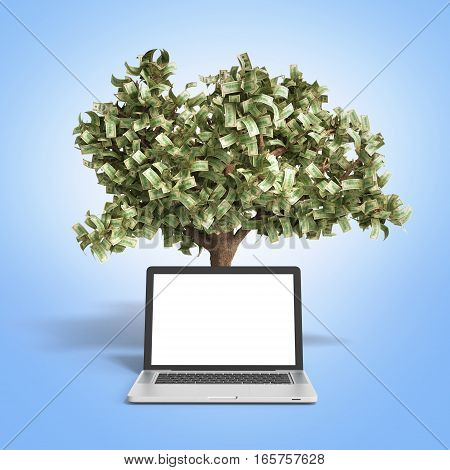 Black Empty Screen Pc With Money Tree On Gradient Background 3D Render Success Knowlage Concept