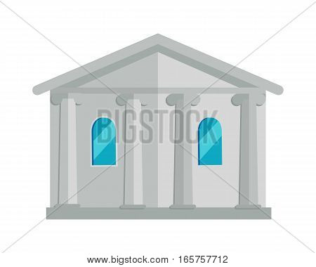 Building with columns vector. Flat design. Classical architecture illustration for legal, historical, business concepts, web, app, icons, infographics, logotype design Isolated on white background