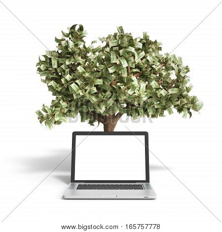 Black Empty Screen Pc With Money Tree On White Background 3D Render Success Knowlage Concept
