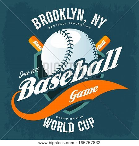 Baseball ball and bats on shield for t-shirt symbol. Sport club logo and brooklyn new york world cup championship, cloth branding and professional advertising. Athlete sportswear, pitcher player print