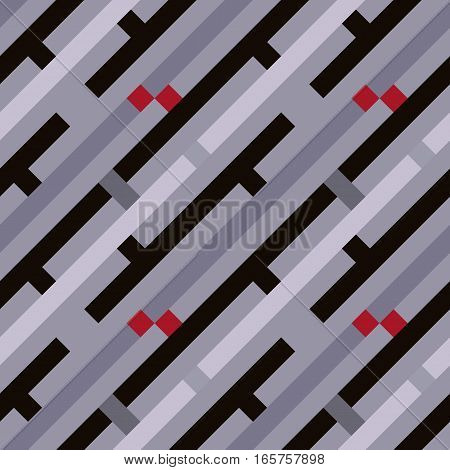 Seamless geometric stripy pattern. Texture of diagonal strips, lines and rectangles. Red, gray, black colored background. Labyrinth theme. Vector