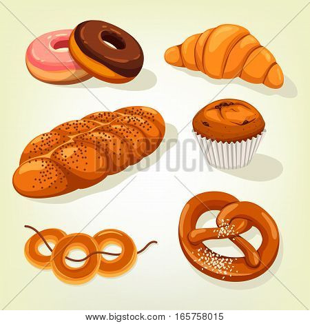 Isolated bakery bread food. Kifli or kringle, french croissant and dough or donut, doughnut and pretzel, raisin cake and bagels on rope. Cereal and wheat, grain pastry and nutrition theme