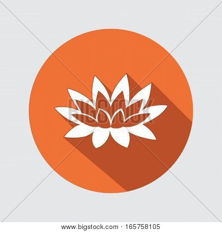 Lily, lotus flower icon. Waterlily floral symbol. Round circle flat button with long shadow. Vector