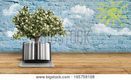 Black Pc With Money Tree Breeck Background 3D Render Success Knowlage Concept
