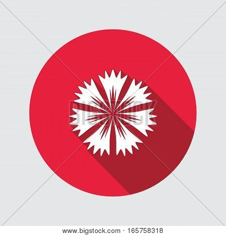 Cornflower, blue poppy, centaury, knapweed flower icons. Spring floral, medicinal herbs symbol. Round circle flat signs with long shadow. Vector