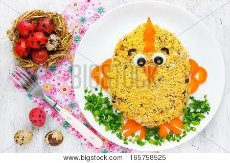 Easter salad shaped funny Easter chicken - funny idea for Easter dinner creative food art idea on Easter party for kids