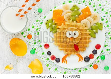 Easter breakfast idea for kids - Easter chicken wafer with fruit creative food art for children on Easter holiday