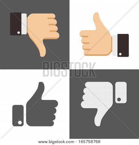 Thumbs up and down, like and dislike icons for social network. Gesture like and ok illustration