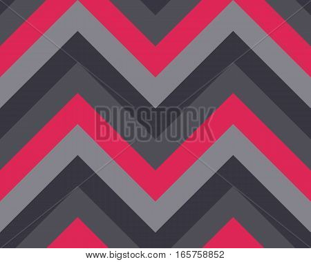 Seamless geometric strip pattern. Stripy texture. Zigzag line background. Diagonal strips. Red, black, gray, dark and light, contrast colors. Winter theme. Vector