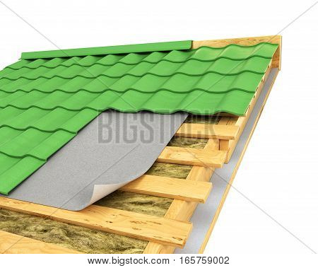 insulation on the roof. 3D illustration .