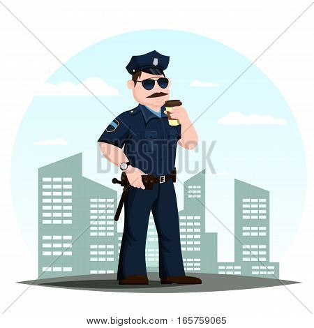 Policeman or american police officer drinking coffee in front of town or city. Professional guard or authority man in uniform, patrolmen with badge. Patrol profession and justice, crime and authority theme