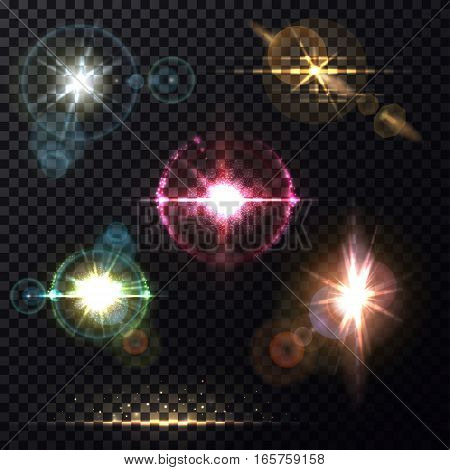 Set of isolated sun light effects on transparent background. Sunshine line at horizon and zenith light through round lens glass, camera view on beam bleak, star burst and flare, bokeh and glowing, flash