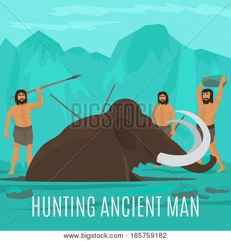 Ancient prehistoric stone age concept. Mammoth hunting vector illustration