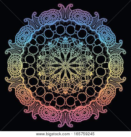 Round rainbow gradient mandala background.Creative vector illustration