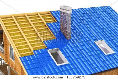 Roof in cut. The demonstration roof insulation. 3D illustration