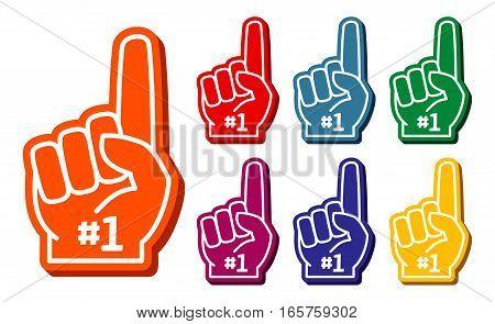 Colorful foam fingers vector set. Elements for sport support illustration
