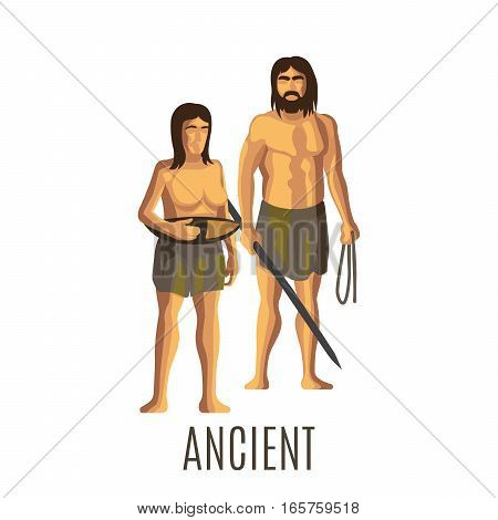 Ancient prehistoric woman and man, isolated vector illustration