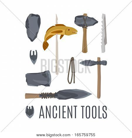 Ancient tools, vector isloated set of elements for game design