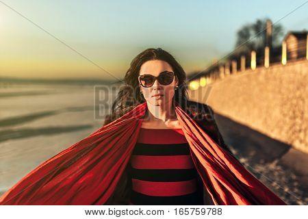 Brunette Girl Walk Outdoor In The Park