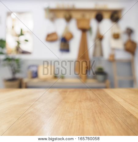 Table top Wooden counter Blurred Kitchen Background Natural Country Cottage style