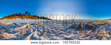 360 Panorama Of Snow Sunrise Wave On The Shore Of Olkhon. Baikal