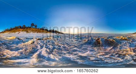 360 180 Panorama Of Snow Sunrise Wave On The Shore Of Olkhon. Baikal
