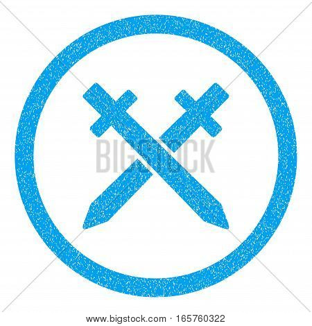 Rounded Crossing Swords rubber seal stamp watermark. Icon symbol inside circle with grunge design and dirty texture. Unclean vector blue sign.