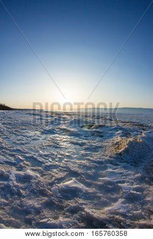 Snow Sunrise Wave On The Shore Of Olkhon. Baikal