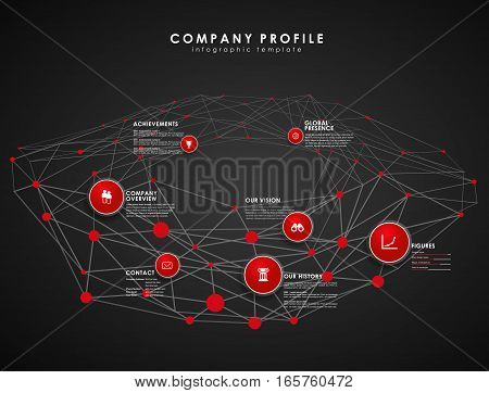 Company profile overview template with red circles and dots - dark version.