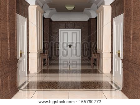 3D rendering of a hotel hallway with doors