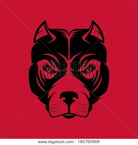 Pitbull. Dog head logo or icon in one color. Stock vector illustration. Business sign template.
