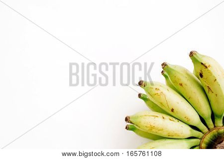 Bunch of bananas isolated. Flat lay top view. Creative food concept