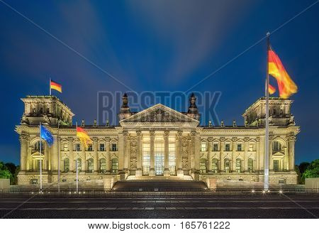 Reichstag building in Berlin, government district, Germany