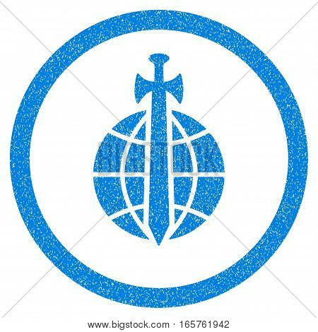 Rounded Global Guard rubber seal stamp watermark. Icon symbol inside circle with grunge design and dirty texture. Unclean vector blue sticker.